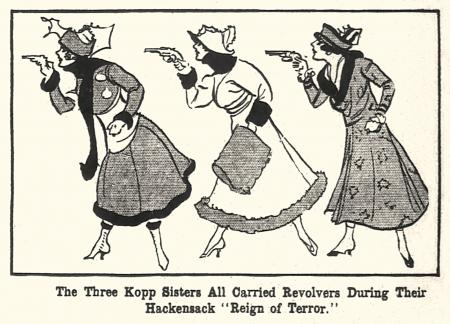Illustration from period newspaper featuring the Kopp sisters.