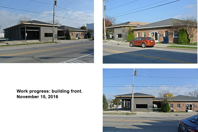 Progress on front of building. November 15